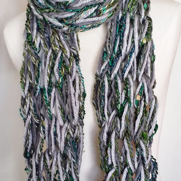 Pewter Gray & Green Scarf, Bohemian Knit Scarf, Arm Knit Scarf, Loose Knit, Fashion Knitwear, Essentials, Scarf with Silver, Emerald, Olive