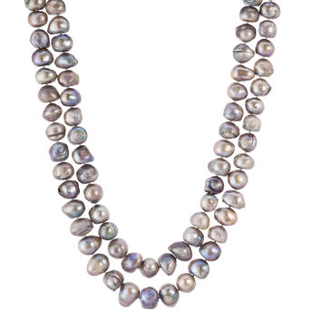 "Double Strand Baroque Grey Pearl Necklace 18"" Double Strand"