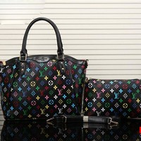 LV Print Colorful Two piece Women Shopping Leather Handbag Tote Satchel Shoulder Bag H-YJBD-2H