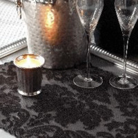 Halloweentown Store: Heritage Black <br>Damask Lace Placemat