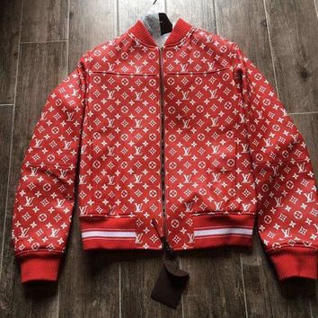 onetow One-nice? Louis Vuitton x Supreme Red Leather Monogram Logo Blouson Jacket Size 48 LV New