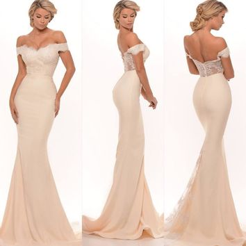 2017 New Bridesmaid Dresses Sexy Mermaid Off Shoulder Lace Appliques Zipper Back Sweep Train Long Maid of Honor Dresses