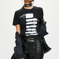 Missguided - Black Mono Graphic Oversized T-Shirt