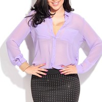 LAVENDER SHEER CHIFFON DOUBLE POCKET ACCENT BLOUSE TOP