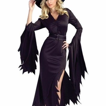 Autumn Halloween Costume 2 Pcs Women Clothes Set All Black Gothic Witch 2016 Fancy Dress With Headwear  Adult Cosplay Lc8983