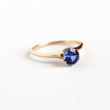 "Antique 14k Rosy Yellow Gold ""1906"" Created Sapphire Solitaire Ring - Vintage Edwardian 1900s Size 7 Blue Faceted Gemstone Fine Jewelry"