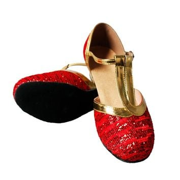 MoveFun Sequins Girls' Dance Shoe New Children Latin Dance Shoes/Economic Shoes/Ballroom Dancing Shoes for Kids 3.5cm -76