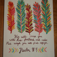 Colorful Feather Bible Verse Painting