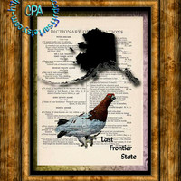 ALASKA State Black Silhouette with State Bird Art - Vintage Dictionary Page Art Print Upcycled Page Print