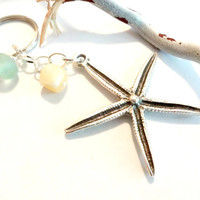 Ocean Inspired Silver Starfish and Seafoam Green Sea Glass Keychain, Car Accessories