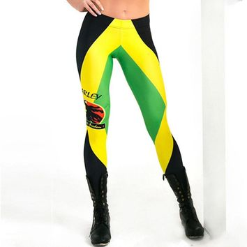 New L3791 Sexy Girl Pencil Pants Bob Marley Jamaican flag Printed Running Fitness Sport Women Yoga Pants Plus Size