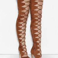 CHAOS LACE UP THIGH HIGH SUEDE BOOTS - CHESTNUT