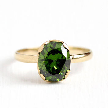 Antique 10k Yellow Gold 3.23 CT Genuine Demantoid Garnet Ring - Size 8 1/2 Vintage 1900s Stick Pin Conversion Fine Green Gemstone Jewelry