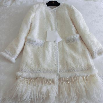 Cakucool Women Winter Autumn Jackets Feathers Lace Hollow Out Pearl Beading Outerwear Slim Cute Cotton Liner Lolita Coats Female