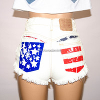 High Waisted American Flag Denim Shorts, Hand Painted American Flag Shorts, Vintage High Waisted Shorts, High Waisted Jeans, Bleached Shorts