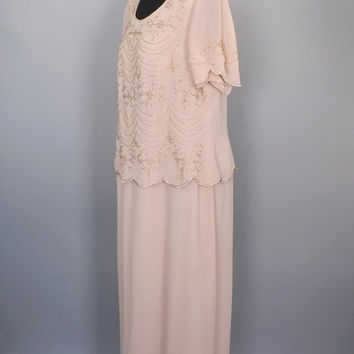 Size 16 Large Vintage R & M Richards Pink Mauve Grecian Beaded Maxi Dress Chiffon 1920's Style Flapper Long Gown Great Gatsby Romantic