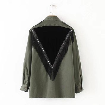 Women Army Green Militar with Fringes Tassel Beads Patchwork Velvet Blouse Shirt Long Sleeve Turn-down Collar Ladies Top Blusa
