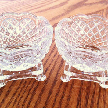 Glass Nut Dish , Vintage Candy Dish , Fostoria Glass , Footed Nut Cup , Clear Glass Desert Cup , Small Candy Dish , Set of 2