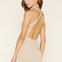 Mock Neck Crisscross Mini Dress