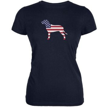 DCCKJY1 4th of July Patriotic Dog Pit Bull Terrier Navy Juniors Soft T-Shirt