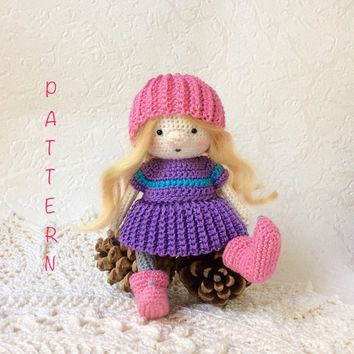 Amigurumi doll pattern Crochet doll toy pattern Amigurumi toy pattern Soft Toy pattern Small doll tutorial PDF Amigurumi pattern PDF doll