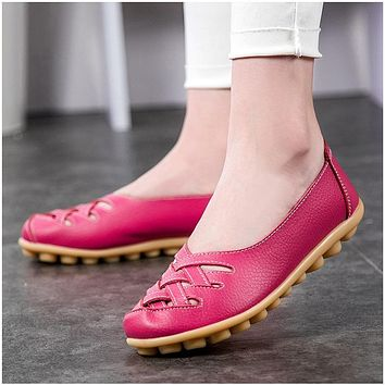 Women's Flats Genuine Leather Flat with Superstar Oxford shoes women loafers Casual Ballet Summer shoes Big size