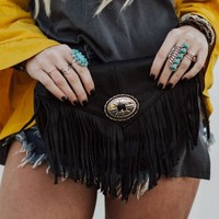 Leather Fringed Concho Clutch - Black
