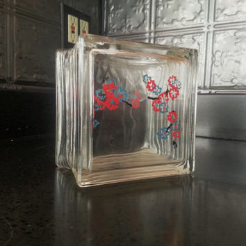 Mid Century Modern Glass Block Vase West Germany Bookend, Candleholder/ Planter/Fish Bowl