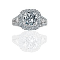Radiant Round 2CT. Split Shank with Tiny Pear Shaped Sides Paved Halo Vintage Style Simulated Diamond - Diamond Veneer Engagement/ Wedding Ring. 635R4010