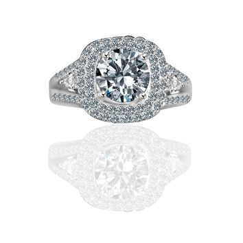 Radiant Round 2CT. Split Shank with Tiny Pear Shaped Sides Paved Halo Vintage Style Simulated Diamond - Diamond Veneer Engagement/ Wedding Sterling Silver Ring 635R4010