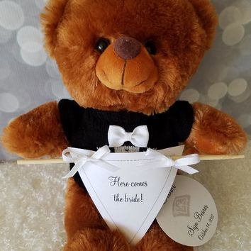 Ring Bearer Gift Here Comes The Bride Banner Teddy Bear, 11inches Brown