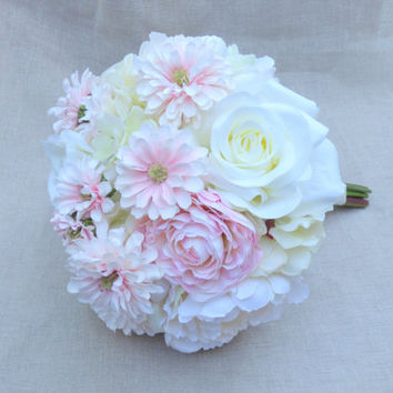 Peony Bouquet. Silk Peonies Wedding Bouquet. Blush Wedding Flowers. Real Touch Hydrangea Bouquet. Pink Gerbera Daisy Bouquet. Ready to Ship