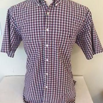 Polo Ralph Lauren Mens Blake Red Blue Plaid Button Front Short Sleeve Shirt Sz L