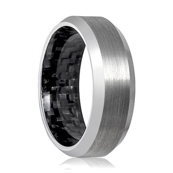 Aydins Mens Tungsten Wedding Band Silver Brushed Beveled Edge & Carbon Fiber Inside the Band 8mm Tungsten Carbide Ring
