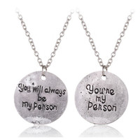 2 Pcs/Set Grey Anatomy You Are My Person, You Will Always Be My Person Anime Cosplay Lovers Necklace Best Friends Pendant
