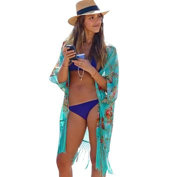 Women Beach Cover Up Ladies Sexy Swimsuit Bathing Suit Cover Ups Cape Kaftan Kimono Knits Beach Wear Shirt Boho Tunic Kimono