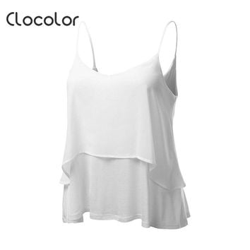 Clocolor Women's Tank Top Beach Backless Plain Polyester White Gray Loose 2018 Modern Fashion Sexy Female Girls Women's Tank Top