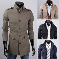 Fashion Men Military Style Slim Fit Trench Coat