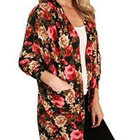 Floral Season Women Floral Print Batwing Sleeve Draped Fall Lightweight Cardigan