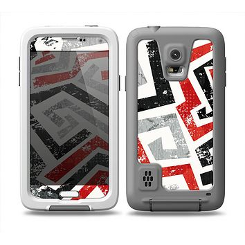 The Red-Gray-Black Abstract V3 Pattern Skin Samsung Galaxy S5 frē LifeProof Case