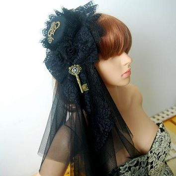 Handmade Women's Steampunk Victorian Mini Top Hat Costume Accessories Gothic Gear Key Veil Hair Clip Steam Punk