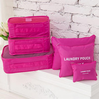 6 Pieces Portable Travel Luggage Packing Waterproof Clothes Storage Bag Set
