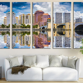 West Palm Beach Canvas Print Skyline Wall Art / Modern Canvas Print Wall Art Photography Hanging for Office & Home Decoration Fine Art