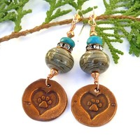 Dog Rescue Handmade Earrings Copper Paw Print Lampwork Turquoise OOAK