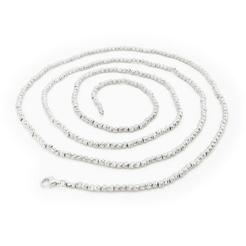 Platinum Plated Sterling Silver Diamond Cut Gold Pebbles Necklace 36""