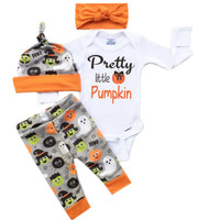 Halloween Stuff Newborn Baby Girls Boys Pumpkin Romper +Pants+Hat Outfits Set Baby Clothing 0-18M