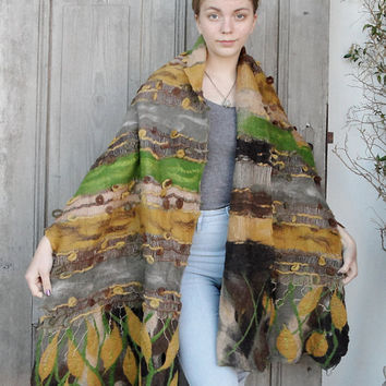 Nuno felt long scarf, autumn colors, merino wool shawl felted on vintage scarf, OOAK