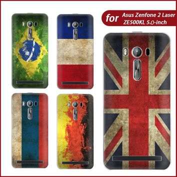 For Asus Zenone 2 Laser ZE500KL Case Flag Design TPU Case Cover ze 500kl Phone Case Silicon Phone Protective Cover Fundas