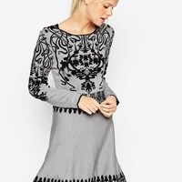 ASOS | ASOS Skater Dress In Baroque Pattern at ASOS