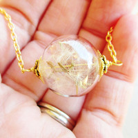 Dandelion Seed Glass Orb Terrarium Necklace, Small Orb In Gold, Bridesmaid Gifts, Hipster Jewelry